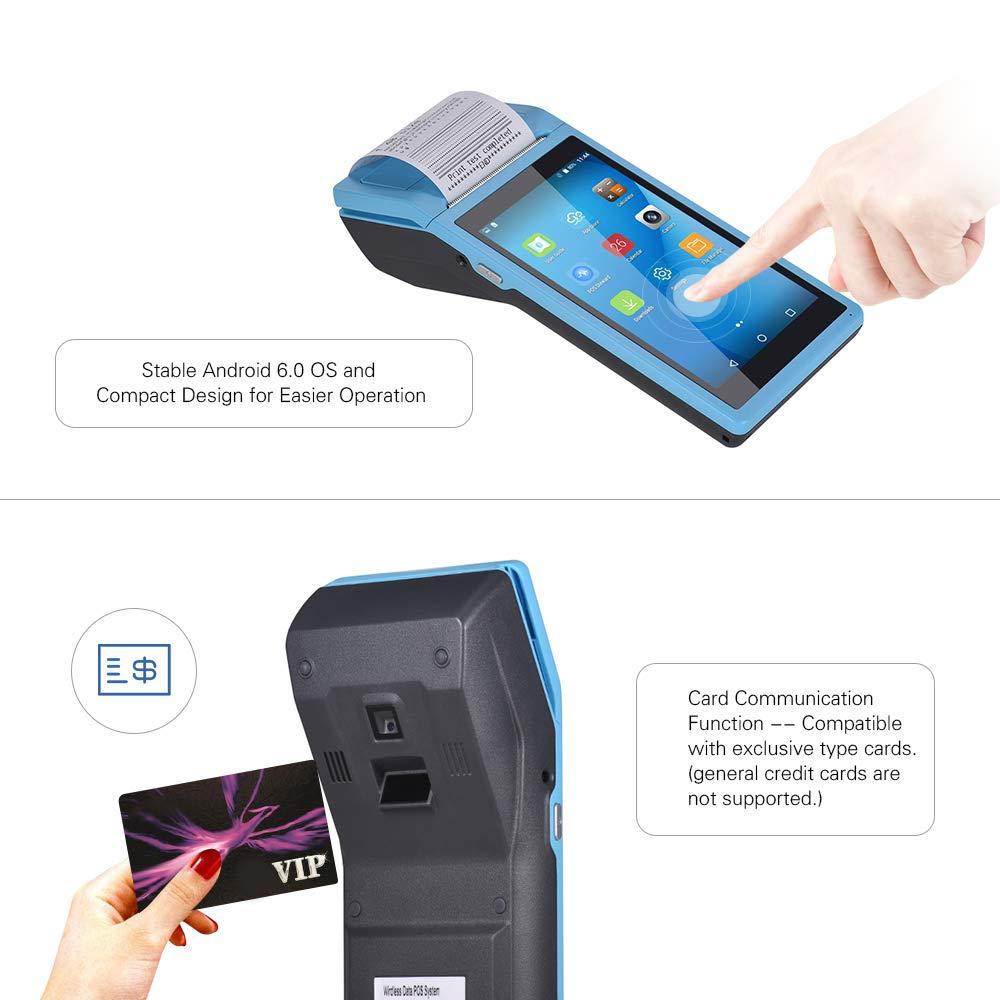 Festnight Ordinateur de poche PDA tout-en-un Imprimante PDA intelligente Imprimantes portables sans fil Fonction de terminal de paiement intelligente Fonction de communication BT//WiFi//USB OTG 3G