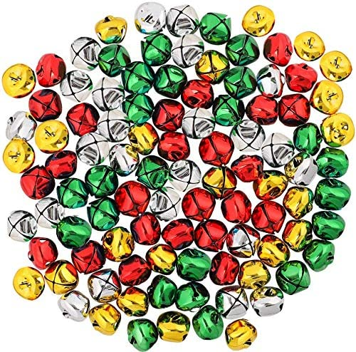 Christmas Jingle Bells Colorful Craft Metal Bells for Xmas Festival Party Decoration DIY Charms Jewelry Making and Wreath 100PCS