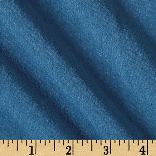 TELIO Bizet Slub Viscose Linen Solid Blue Fabric by The Yard