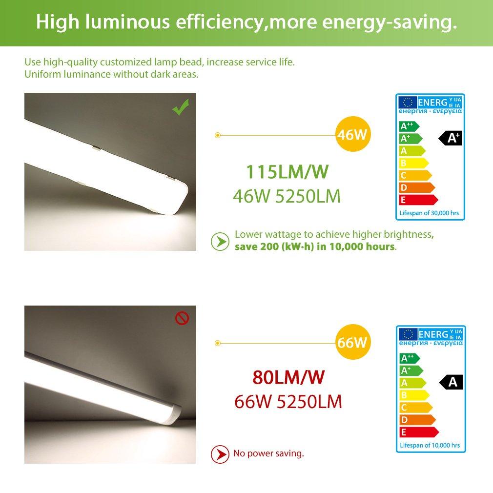 Oeegoo 46W LED Feuchtraumleuchte Feuchtraumleuchte Feuchtraumleuchte 120cm, Wannenleuchte 5250lm(115Lm W) Ersetzt 400 Watt Glühbirne, Schutzart IP65 sowohl für den Innen- als auch Aussenbereich Werkstattleuchte Neutralweiß 4000K 587bd2