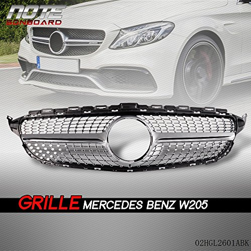for Mercedes Benz C Class C200 C250 C300 C350 W205 2015 2016 2017 2018 AMG Sport Grill Front Diamond Style Grille Trim Shell