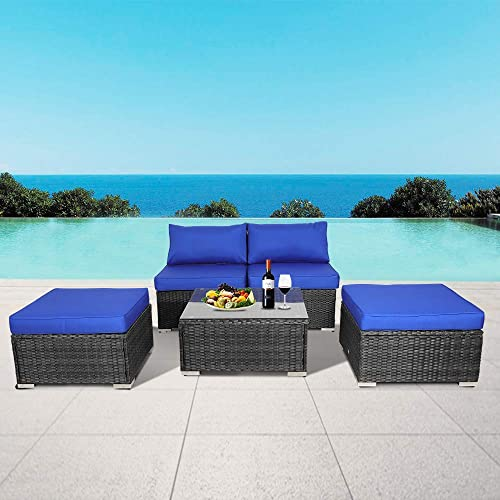 Patio Rattan Furniture 5pcs Outdoor Wicker Sofa Set Black Couch Sectional Set Conversation Cushioned Sofa