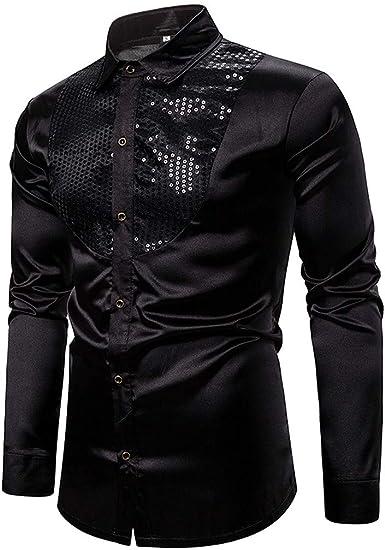 Camisa Formal para Hombre Slim Fit Manga Larga Camisa Casual Seda Satinado Color SóLido Tops Cuello de Solapa Lisa Camisa Empresarial: Amazon.es: Ropa y accesorios