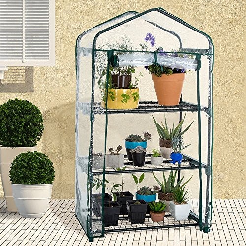 Mini Greenhouse plastic plants cover plant house for tomato and bonsai etc for plant pass the winter (without iron shelves) (S: 27 x 19x 49 inch) by Feileng