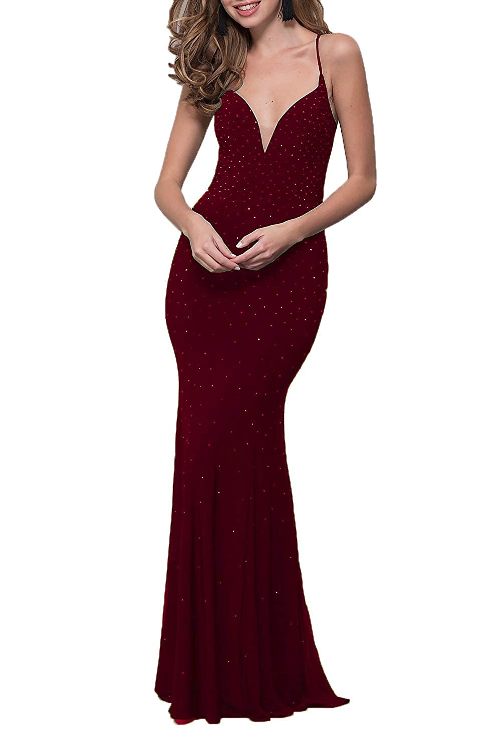 Burgundy Wanshaqin Women's CorsetBack Long Beaded Formal Dress Evening Wedding Party Bridesmaid Gown