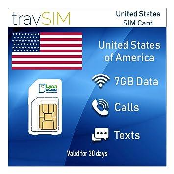 travSIM - Tarjeta SIM Prepagada Lycamobile para EE.UU. (Incluyendo Hawaii & Puerto Rico) - 7 GB de Datos 3G / 4G / LTE Móvil, Llamadas Nacionales e ...