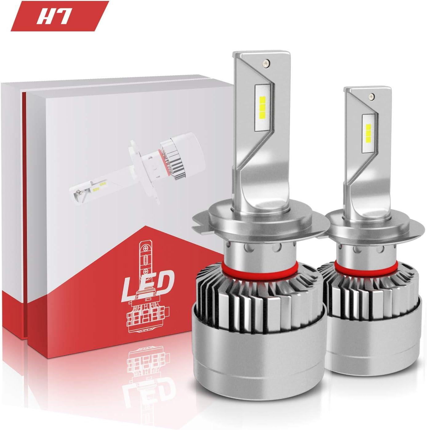 AUSI H7 LED Headlight Bulbs Super Bright Conversion Kit 8400LM 6000K Brightness Ice White CSP Chips Adjustable High/Low Beam 2 Pack