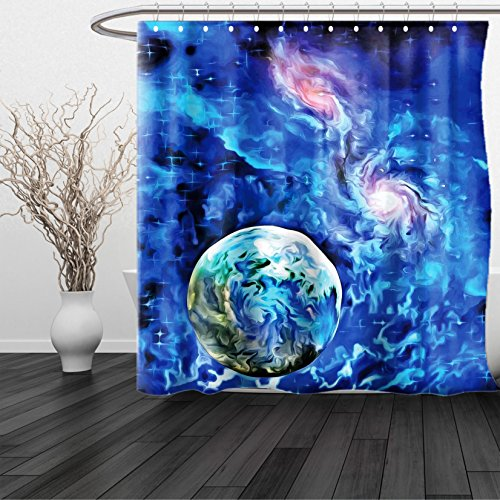 HAIXIA Shower Curtain Constellation Exo Solar Planet Painting Style Vibrant Universe Awesome Space 3 Queen Full Turquoise Blue Light Pink by HAIXIA