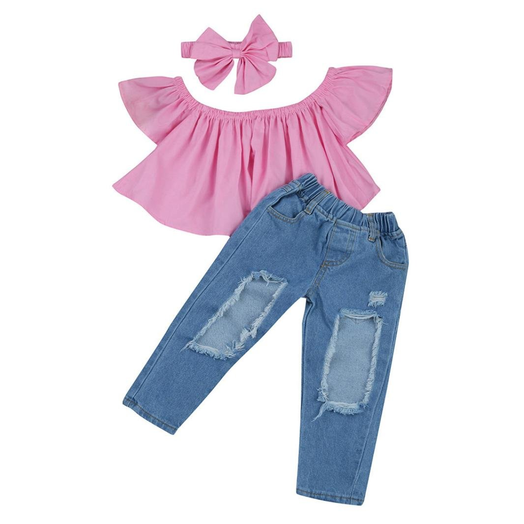 Girls Off-Shoulder Sets,KaiCran for 1-7 T Kids Summer Child Baby Girls Solid Tops+Hole Jeans+Headband Outfits