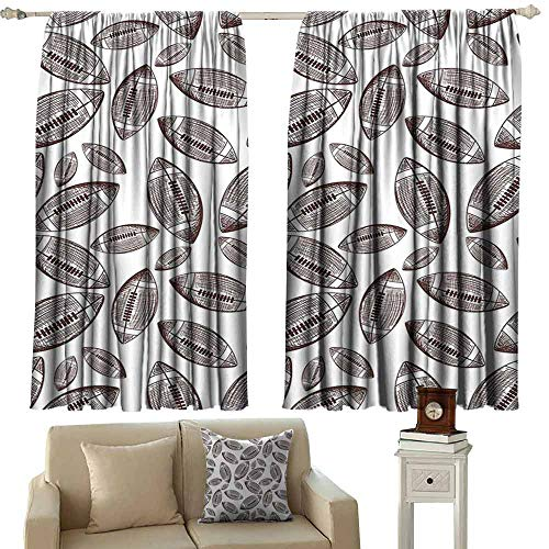 Rugby Black Hand Tufted - DUCKIL Bedroom Curtains 2 Panel Football Sports Inspired Pattern Rugby Balls in Hand Drawn Sketch Style Game Symbol Thermal Insulated Tie Up Curtain W72 xL45 Dark Brown White