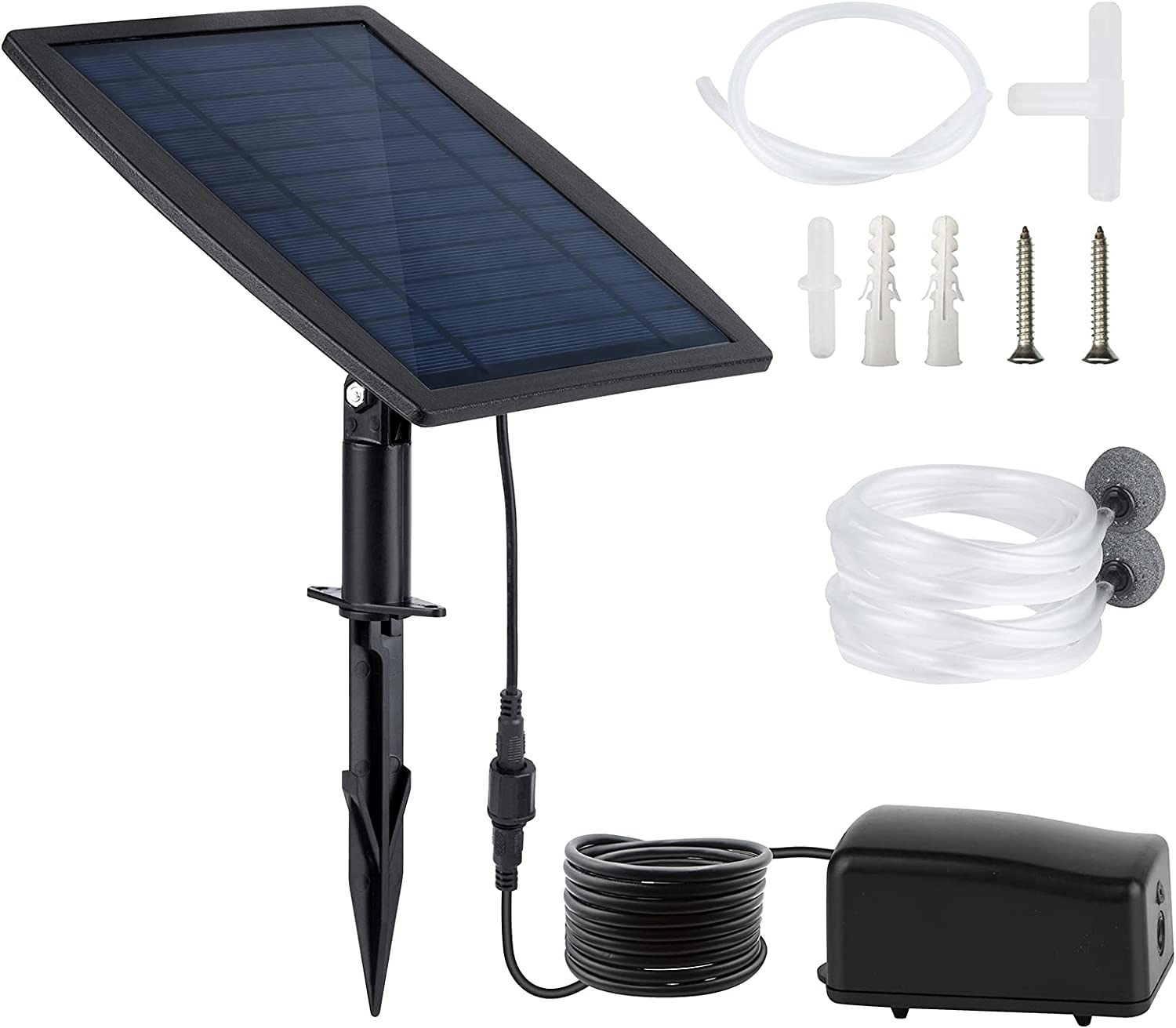 2.5W Solar Oxygen Air Pump Kit Battery Backup 3 Modes Solar Powered Fountain Watering Pump with Oxygen Hoses and Air Bubble Stone for Oxygenator Hydroponics Fish Tank Garden Pool Aquarium Fishing Pond