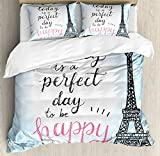 Ambesonne Eiffel Tower Decor Duvet Cover Set by, Perfect Day Eiffel Tower Polka Dot Handwriting Typography Sketch Print Paris Decor, 3 Piece Bedding Set with Pillow Shams, Queen/Full, Blue Black