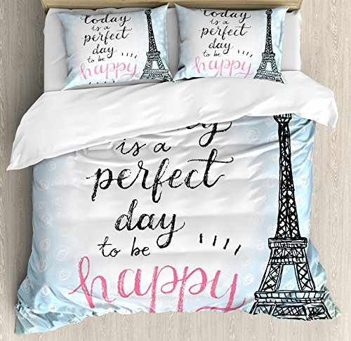 Eiffel Tower Decor Duvet Cover Set by Ambesonne, Perfect Day Eiffel Tower Polka Dot Handwriting Typography Sketch Print Paris Decor, 3 Piece Bedding Set with Pillow Shams, Queen / Full, Blue Black