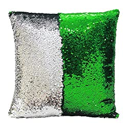 Fengheshun Reversible Sequins Pillowcase Mermaid Pillow Covers 40×40 cm Two Color Changing (Green+Silver)
