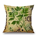 "Happy Cool Cotton Linen Square Flower Printed Decorative Throw Pillow Cushion Cover with Insert 22""x 22"" Flower-25"