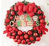 80/50/60cm Red Christmas wreath Christmas creative ornaments Christmas shopping shop window decoration (80cm, Red)