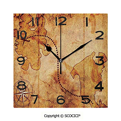 SCOCICI Print Square Wall Clock, 8 Inch Bohemian Style Treasure Hunt Map with Small Compass Paint On It Manuscript Atlas Finding Quiet Desk Clock for Home,Office,School