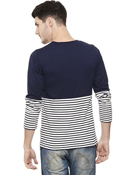 faa1a0d5f37 RIGO Navy Solid and Stripe Tee-Full Sleeve  Amazon.in  Clothing    Accessories