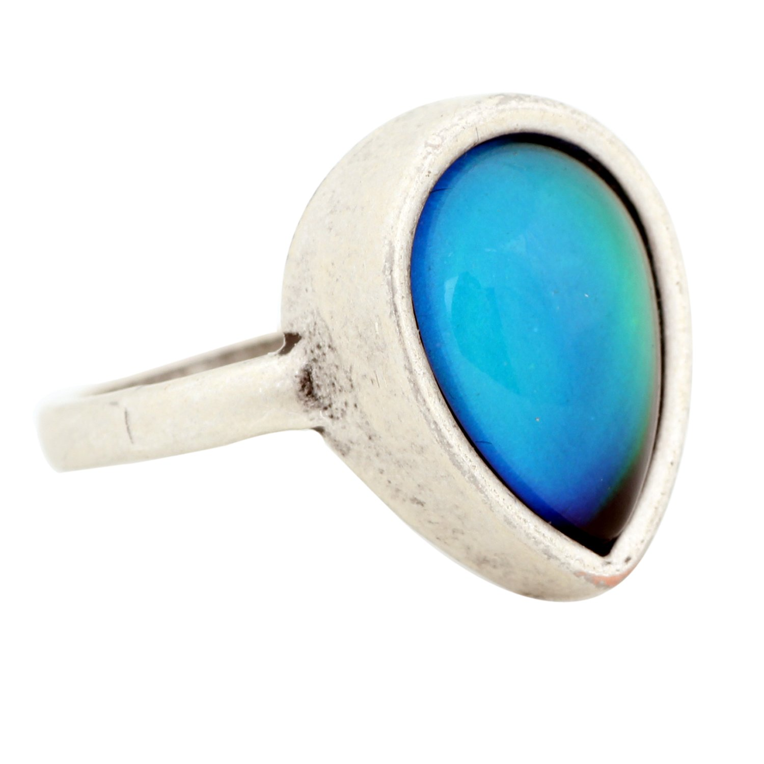 Mojo Antique Sterling Silver Plated Ring With Water Drop Stone Color Change Mood Rings MJ-RS047