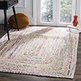 Safavieh Braided Collection BRD210B Handwoven Ivory and Multicolored Area Rug (5' x 8')