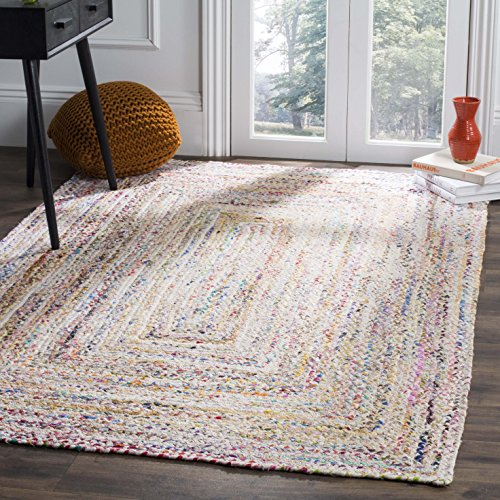 Safavieh Braided Collection BRD210B Handwoven Ivory and Multicolored Area Rug (8' x - Inch X Multi Area 2'6 Rug 10'
