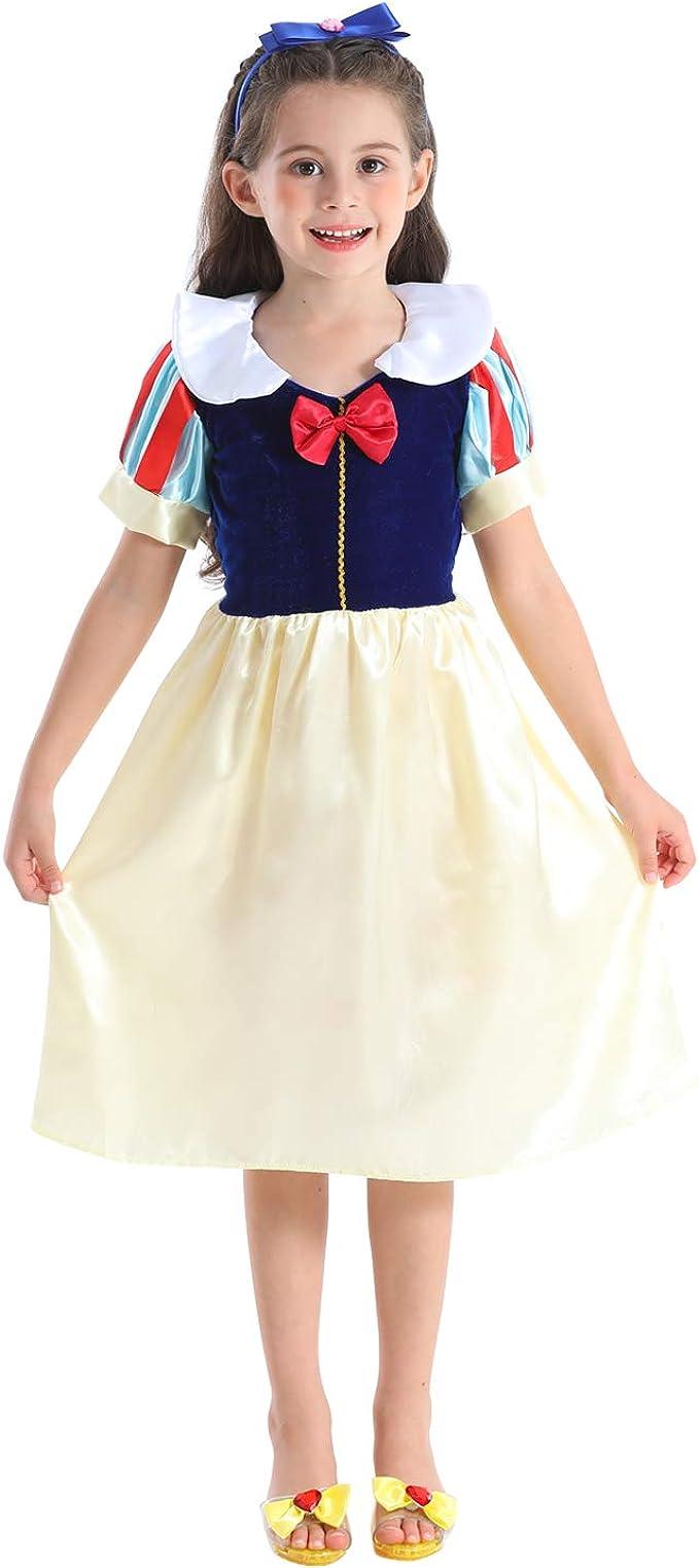 VGOFUN Girls Princess Dress Princess Dress up Costume Set with Bow Headband for Toddlers Little Girls Ages 3-6 (Princess Dress(White))