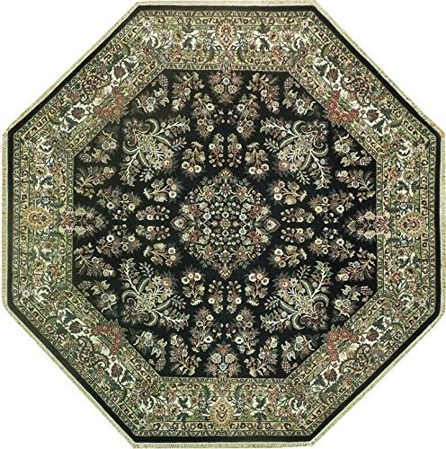 Round Sarouk Handmade 8x8 Green Octagonal Oriental High Demand Area Rug (Oriental Octagonal Rug)