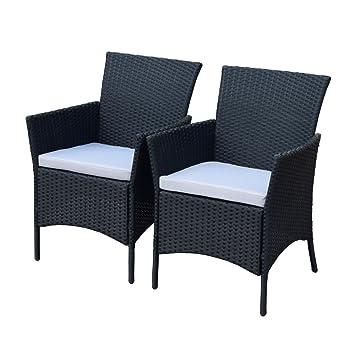 2er Set Polyrattan Rattan Stühle Stuhl Gartenstuhl Sessel Garten Sj 07 Schwarz