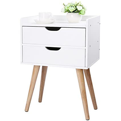 d794bb9e579 Wood End Table Modern Nightstand Sofa Side Table with 2-Drawer Storage  Chairside Bedside Table