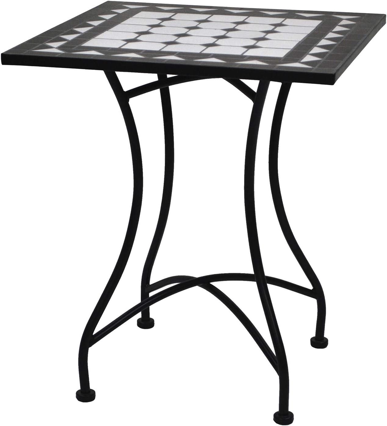 Mesa de forja y cerámica de 60 x 60 cm con Mosaico para 4 Asientos (Negro)