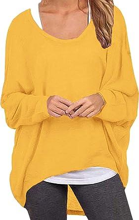 ZANZEA Mujer Jersey Manga de Murciélago Irregular Tallas Grandes Casual Tops Sexy Suéter Suelta Camiseta Manga Larga