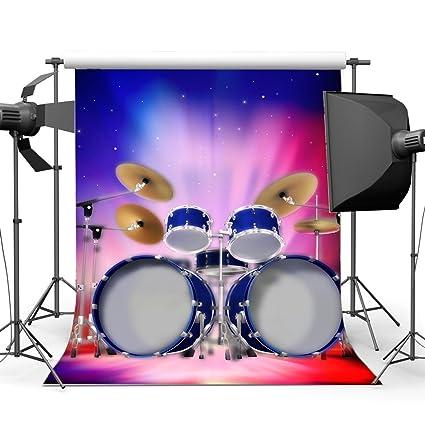Amazon Com Gladbuy Vinyl 10x10ft Drum Set Backdrop Band Concert