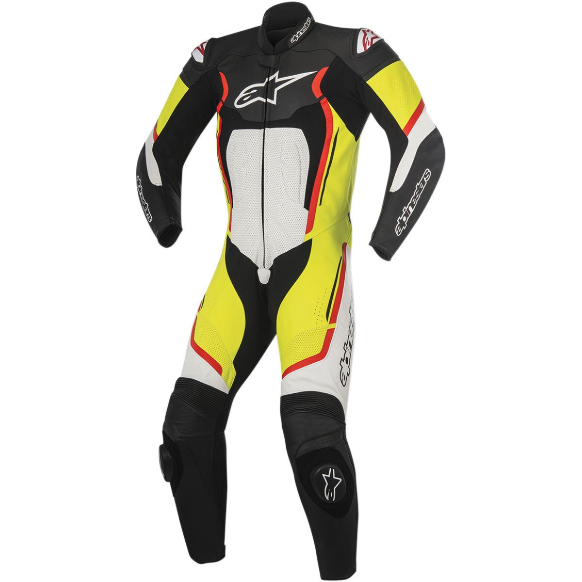 Alpinestars Montegi V2 Men's 1-Piece Street Motorcycle Race Suits - Black/White/Yellow/Red / 50