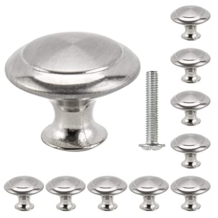 20pcs cabinet door knobs round mushroom shape pull handle stainless