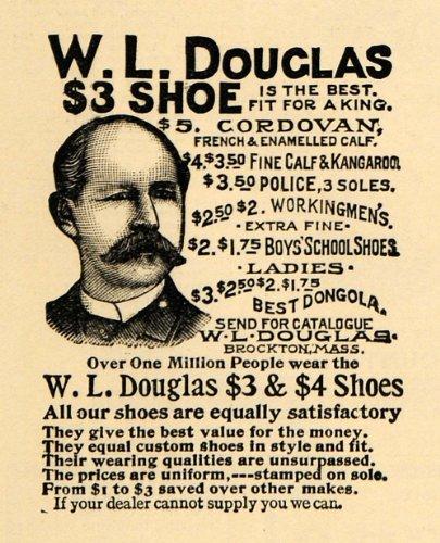 1895 Ad W L Douglas Shoe Cordovan First Retail Store - Original Print Ad from PeriodPaper LLC-Collectible Original Print Archive