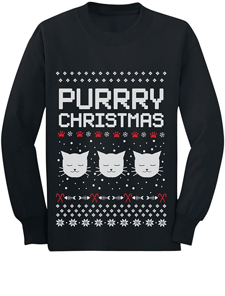 Purrry Christmas Ugly Sweater Gift for Cat Lover Youth Kids Long Sleeve T-Shirt GMPlhtMgCm