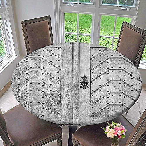 Elasticized Table Cover Collection Old Door Exit Brads Nailed Penal Old Fashioned Culture Middle Ages Artwork Machine Washable 63