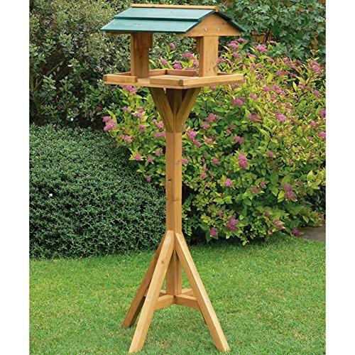 LIVIVO ® Bird House Table Garden Traditional Wooden - Birds Feeder Feeding Station Free Standing Feeding Table Station High Quality Bird Home