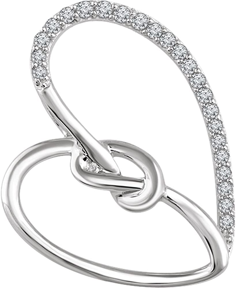 Jewels By Lux 925 Sterling Silver 1//8 CTW Diamond Heart Knot Pendant