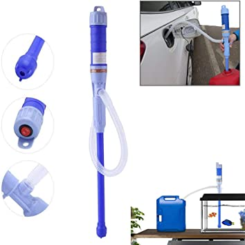 Bomba de transferencia de l/íquido a pilas con tubo de succi/ón flexible para gasolina y di/ésel azul
