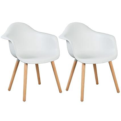 Woltu 2 X Chaises De Salle A Manger Assise En Plastique Chaise Pour