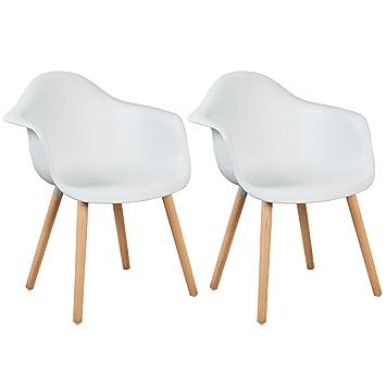 WOLTU® BH37ws-2 Esszimmerstühle 2er Set Esszimmerstuhl mit Lehne ...