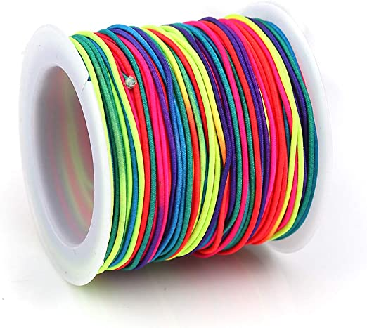 Sadingo de Pulsera, Banda de Goma elástica Cuerda Alrededor, 20 Metros, Perla Hilo 1 mm para Pulseras Joyas DIY, Colores del Arco Iris: Amazon.es: Hogar