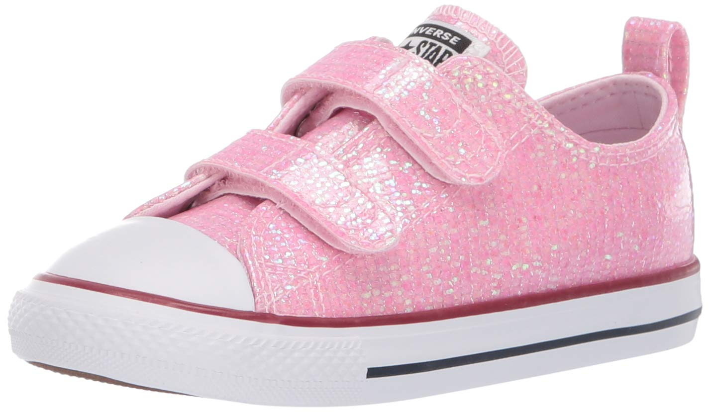Converse Girls Infants' Chuck Taylor All Star 2V Glitter Low Top Sneaker, Pink Foam/Enamel Red/White, 7 M US Toddler