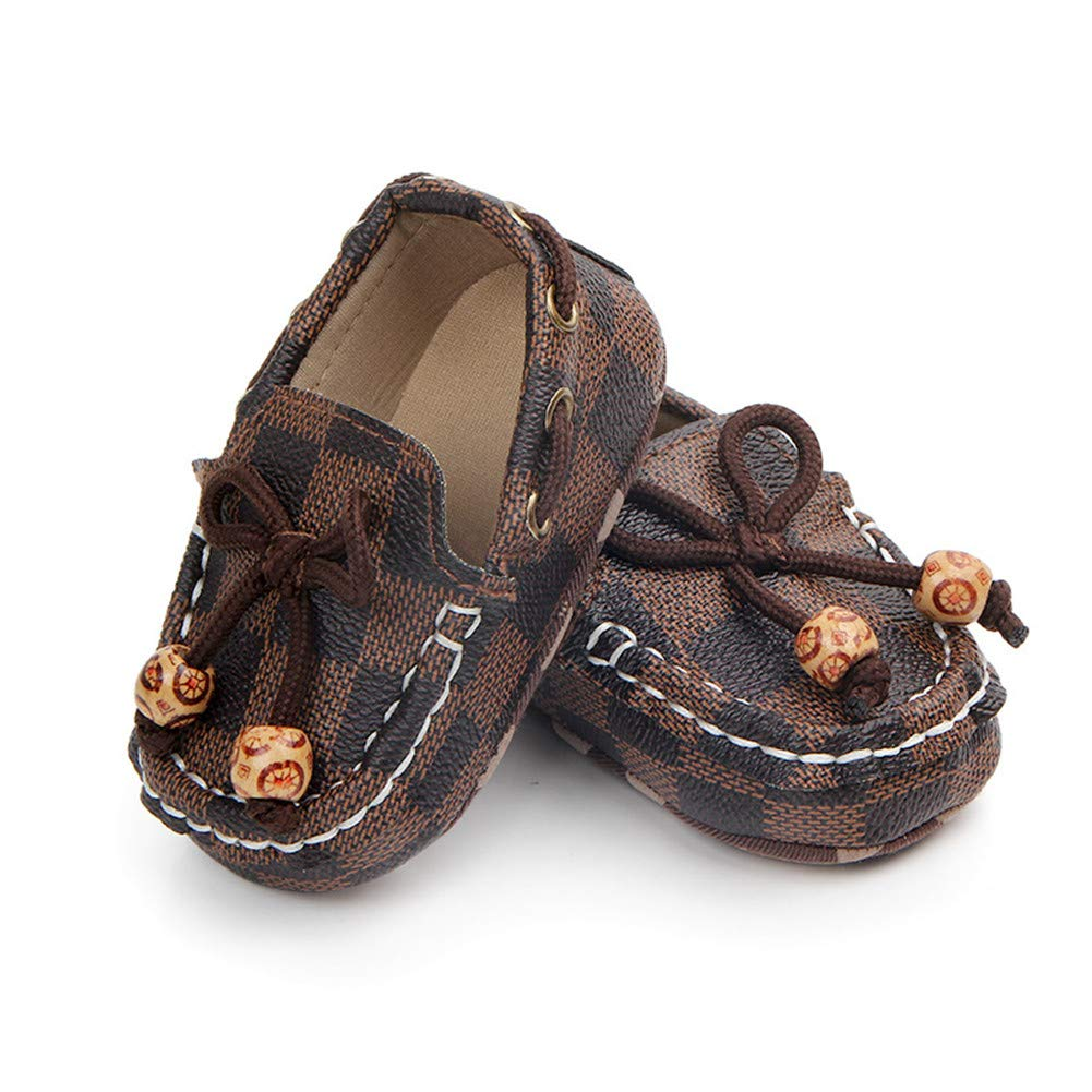 UWESPRING Baby Boys Shoes Plaid Pattern Loafers First Walkers with Socks