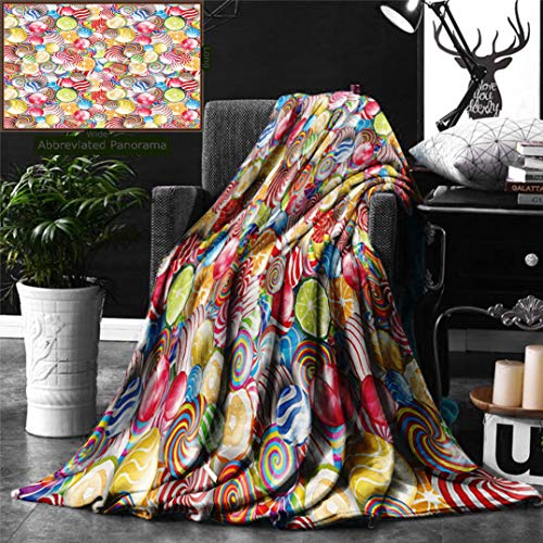 Unique Custom Digital Print Flannel Blankets Colorful Spiral Sugar Candy Sweets Lolly Pops Dessert Fun Girls Kids Nursery Theme Super Soft Blanketry for Bed Couch, Throw Blanket 60 x 40 Inches