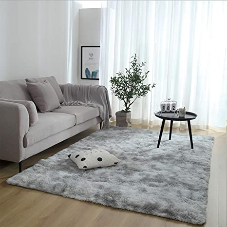 Leesentec Super Soft Indoor Modern Shag Area Silky Smooth Fur Rugs Fluffy Rugs Anti-Skid Shaggy Area Rug Dining Room Home Bedroom Carpet Floor Gray, About 4/×5.3 feet(120/×160cm)