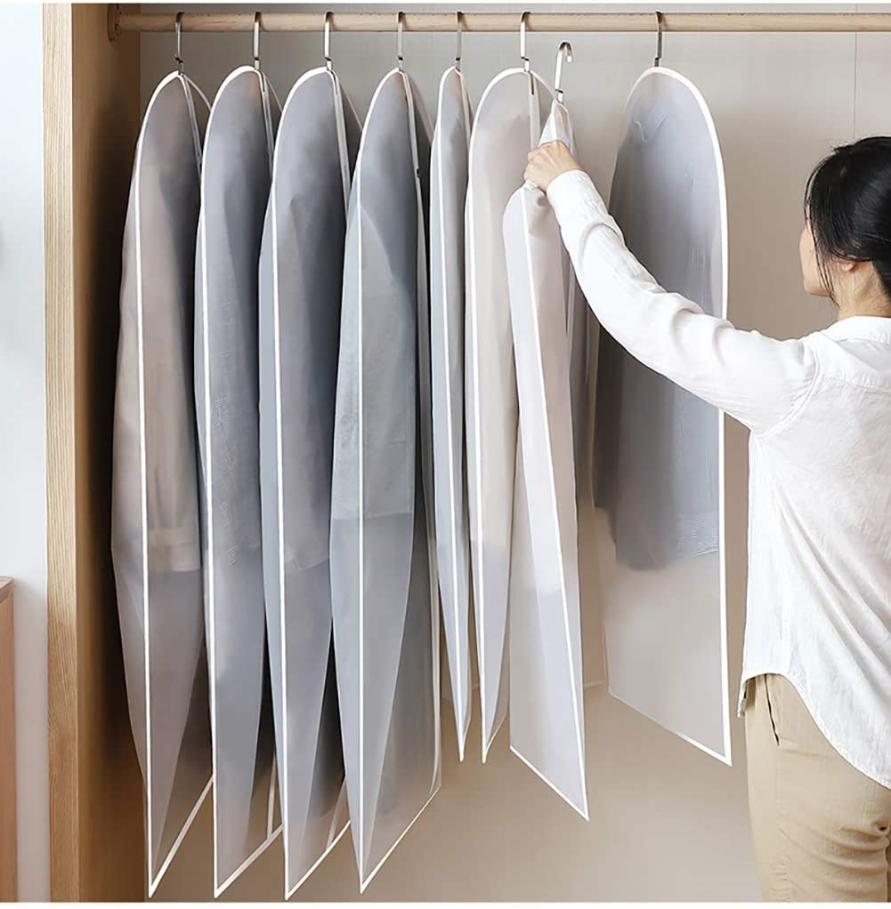 """A-code Pack of 3 Hanging Garment Bag Clear Plastic Breathable Moth Proof Clothing Cover for Wedding Dress Suit Dance Long Winter Coats Clothes Storage Travel Closet Dust Cover 3, 24/""""x 47/"""""""