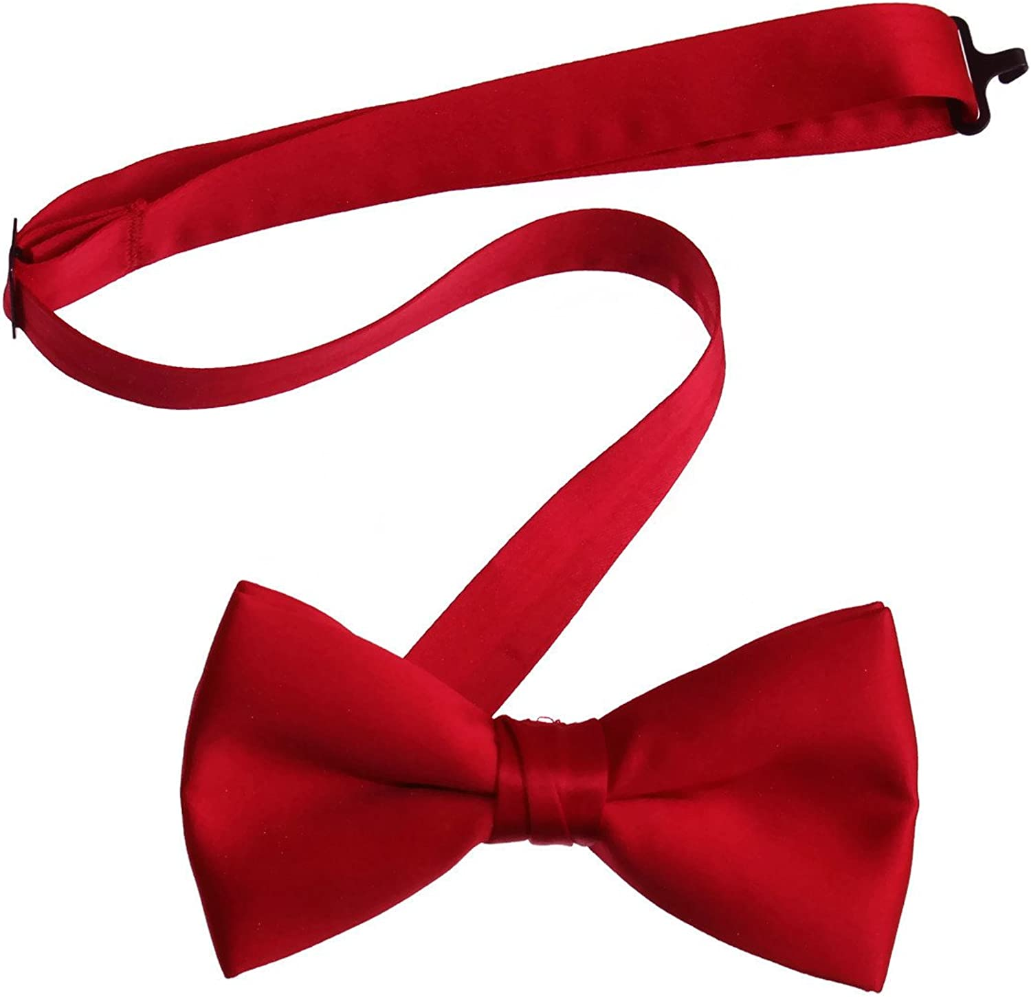 Tuxgear Mens Red Pre Tied Bow Tie with Adjustable Neck Strap Boys and Men Sizes