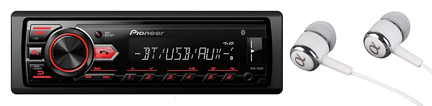 Pioneer MVH-295BT Stereo Single DIN Bluetooth In-Dash USB MP3 Auxiliary AM/FM/Digital Media Pandora and Spotify Car Stereo Receiver With Free ALPHASONIK Earbuds